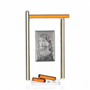 Bonbonnières: Icône Christ argent et verre Murano ambre 13x8 cm