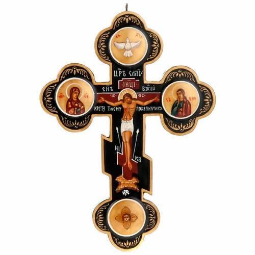 Icône croix trois lobes russe, noir s1