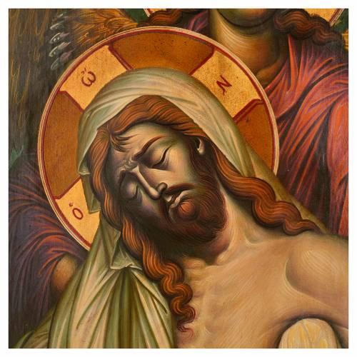 Icône grecque peinte, scène Déposition du Christ 67x48cm s2