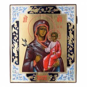 Icône Mère de Dieu Fleur Immarcescible sur planche ancienne s1