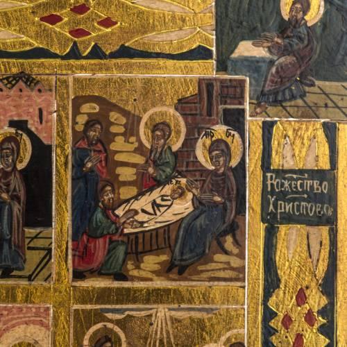 Icône Russe 12 Grandes Fêtes peinte à la main s3