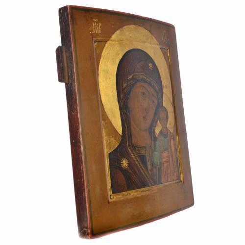 Icône russe ancienne Sainte Vierge de Kazan XIX siècle s2