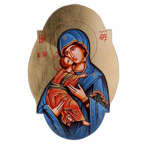 Icône Vierge de Vladimir manteau bleu, ovale s1