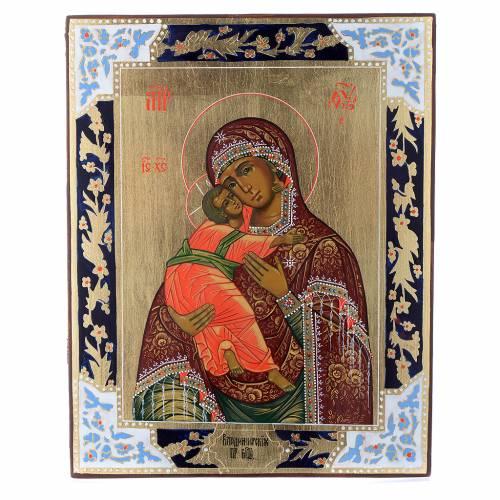 Icône Vierge de Vladimir sur planche ancienne s1