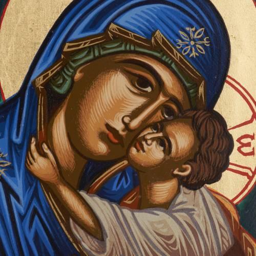 Icône Vierge Éléousa sérigraphiée et peinte Grèce s2