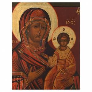 Icônes Russes anciennes: Icône Vierge Smolenskaja ancienne restaurée XX siècle 30x25 cm