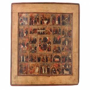 Íconos antiguos: Icono ruso antiguo 16 fiestas y ciclo de la Pasión siglo XVIII