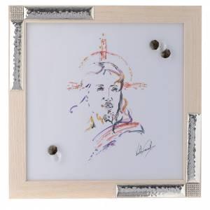 Bonbonnières: Idée cadeau cadre Christ Espoir 27x27 cm argent cristaux