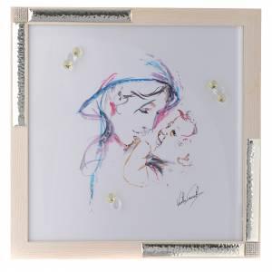 Bonbonnières: Idée cadeau cadre Mère Protectrice 36x36 cm argent cristaux