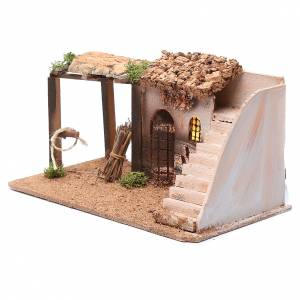 Settings, houses, workshops, wells: Illuminated cork nativity scene house with stairs15x25x15