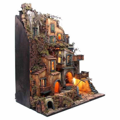 Illuminated village with mill, oven and fountain for Neapolitan Nativity 80x70x40cm s3