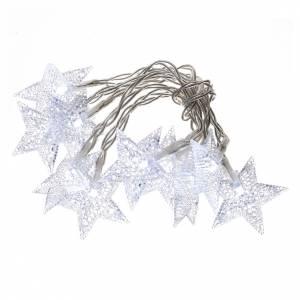 Illuminazione di Natale set 10 stelle led bianco ghiaccio s1
