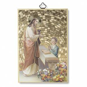 Tableaux, gravures, manuscrit enluminé: Impression sur bois Jésus enfant Prière Remerciement diplôme Communion ITA