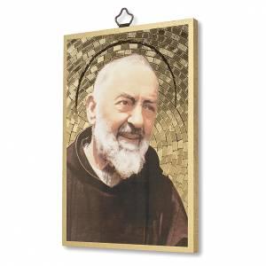 Tableaux, gravures, manuscrit enluminé: Impression sur bois Padre Pio Prière à Padre Pio ITA