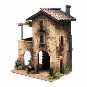 Settings, houses, workshops, wells: Inn with smoke for nativity scene40x30x25