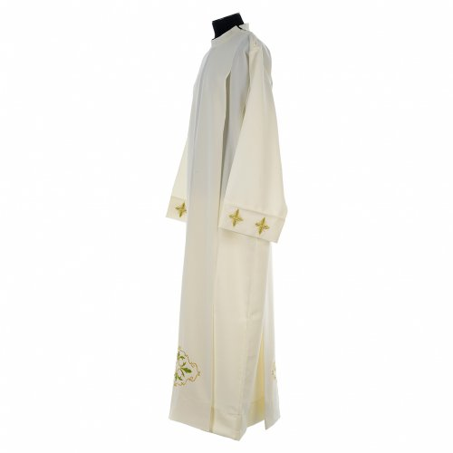 Ivory alb in polyester with cross and zipper on shoulder s4