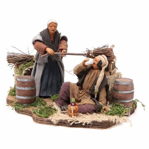 Ivrogne et femme avec balais 14 cm animation crèche napolitaine s2