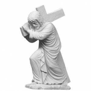 Statues en marbre reconstitué: Jésus porte sa croix 40 cm marbre