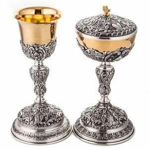 Metall Kelchen, Patenen, Ziborium: Klech Ziborium Brot Lamm Bibel Silber