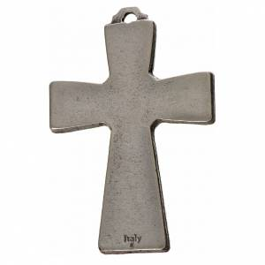Metall Kreuzanhänger: Kreuz heiligen Geist Zama Metall weissen Emaillack 5x3,5cm