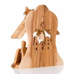 Krippe aus Olivenholz von Jerusalem: Krippe mit Hütte aus Olivenholz 16cm