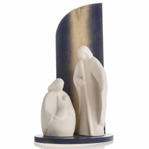 Stilisierte Krippe: Krippe Noel aus Schamotteton und goldenem Holz 28 cm