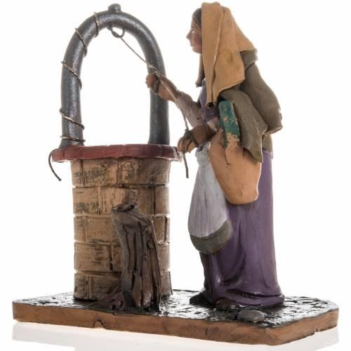 Lady near a well Christmas crib terracotta 18 cm s3