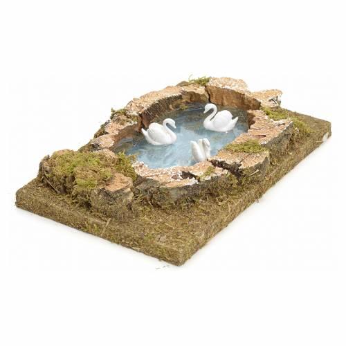 Lago con cisnes para el belén 20x13 s2