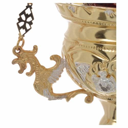 Lampada per Santissimo Ortodossa dorata cm 15X15 s3