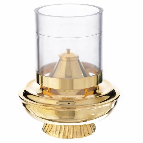 Lanterne à cire liquide blanche sur base h 15,5 cm s1