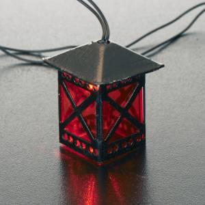 Lanterne en verre rouge avec lumière, piles s2