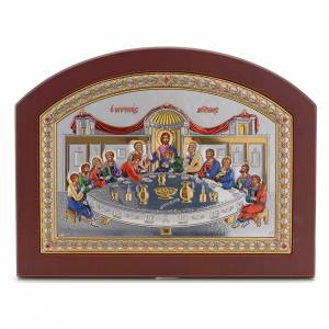 Sacred gilded icons: Last Supper icon in silver, silkscreen printing