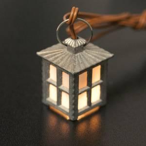 Lichter und Laterne für Krippe: Laterne aus Metall weißes Licht h 2.5 cm