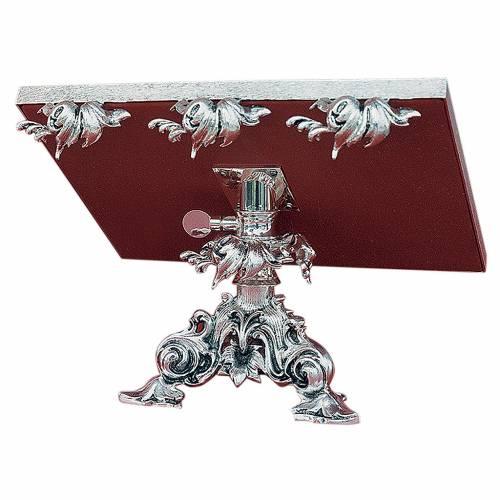 Leggio da mensa girevole ottone fuso argento s1
