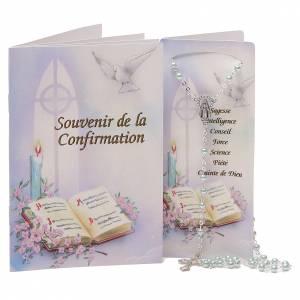 STOCK Libretto ricordo Cresima FRANCESE con rosario azzurro s1