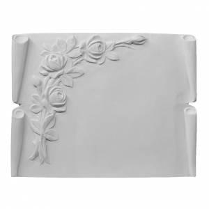 Libro targa per cimiteri marmo ricostituito rose s1