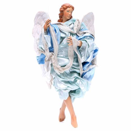 Light blue angel with curved wings, figurine for Neapolitan Nativity, 18-22cm s1