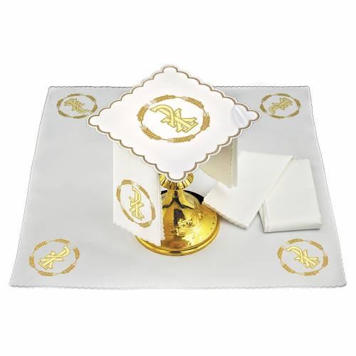 Linge autel lin couronne de blé et symbole Chi-Rho s1