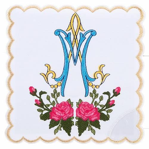 Linge d'autel 4 pcs symbole Marial  et roses s1