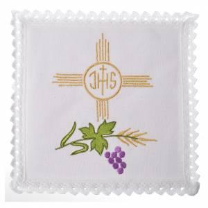 Linge d'autel IHS et raisin 100% lin s1