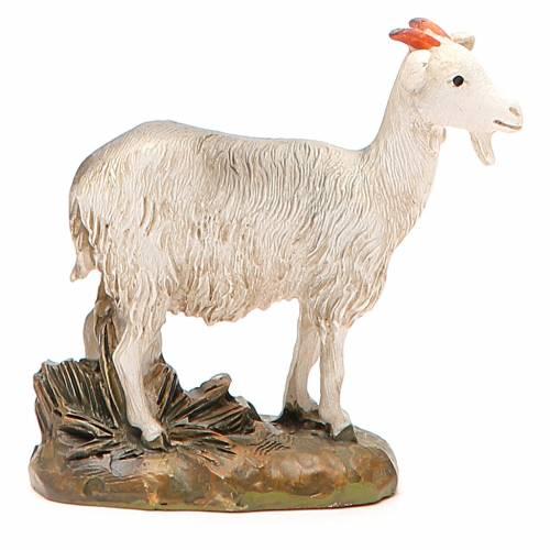 Little goat in painted resin, 12cm Martino Landi Nativity s1