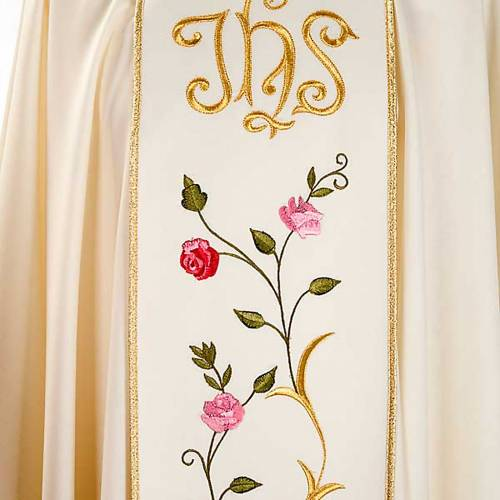 Liturgical chasuble in 100% wool, IHS and roses s4