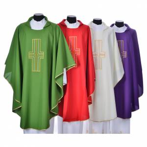 Liturgical chasuble in polyester with colored cross embroidery s1