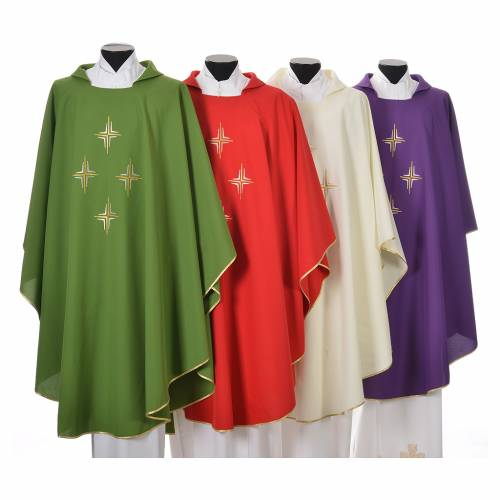 Liturgical chasuble in polyester with four crosses s1