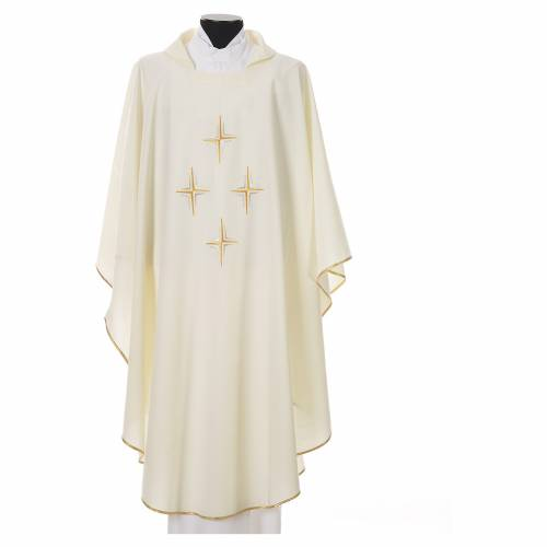 Liturgical chasuble in polyester with four crosses s6