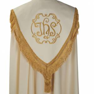 Liturgical cope with IHS symbol and roses embroideries s5