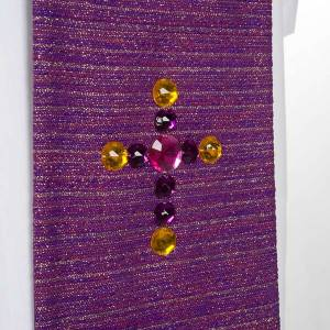 Liturgical stole in lurex, cross with glass stones s6