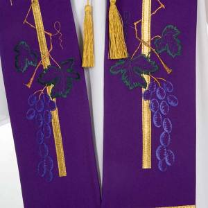 Liturgical stole with golden cross, ear of wheat and grapes s3