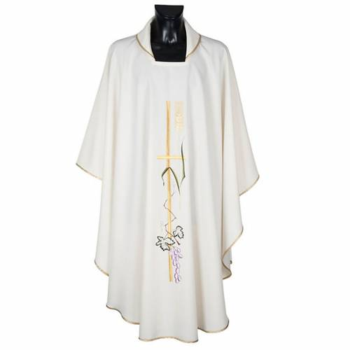 Liturgical vestment in polyester with grapes and long cross s1