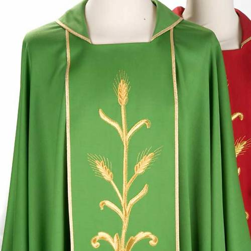 Liturgical vestment in wool with gold ears of wheat s3